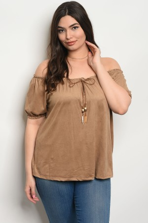 C65-B-3-T8500X TAUPE PLUS SIZE TOP 2-2-2