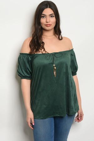 C63-B-4-T8500X GREEN PLUS SIZE TOP 2-2-2