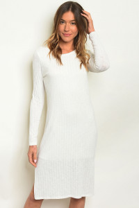 C18-A-7-D2526 OFF WHITE RIBBED DRESS 3-2-1