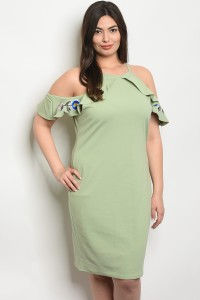 C17-A-2-D7026X SAGE WITH FLOWER PLUS SIZE DRESS 2-2-2