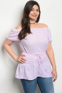S10-1-3-T59039X LILAC WHITE STRIPES PLUS SIZE TOP 2-2-2