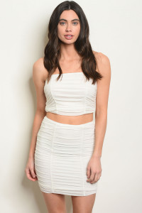 C9-B-3-SET774 OFF WHITE TOP & SKIRT SET 3-2-1