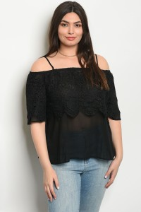 S15-2-4-T3640X BLACK PLUS SIZE TOP 2-2-2