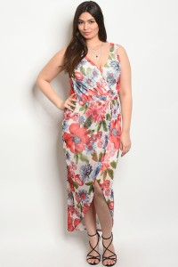 C55-A-2-D23015BX IVORY FLORAL PLUS SIZE DRESS 2-2-2