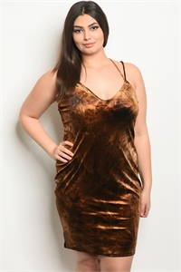 C57-A-1-ZD8463X BROWN CHOCOLATE TIE DYE PLUS SIZE DRESS 2-2-2