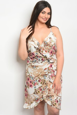 114-5-3-D8843X IVORY FLORAL PLUS SIZE DRESS 2-2-2