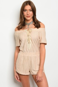 S10-14-3-R71189 BEIGE LACE-UP OFF SHOULDER ROMPER 3-2-1