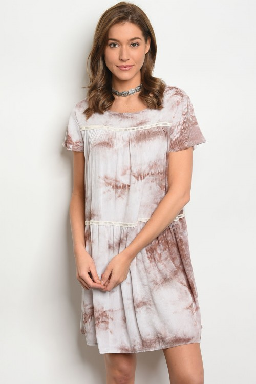109-1-4-D5145 TAUPE IVORY TIE DYE DRESS 2-2-2
