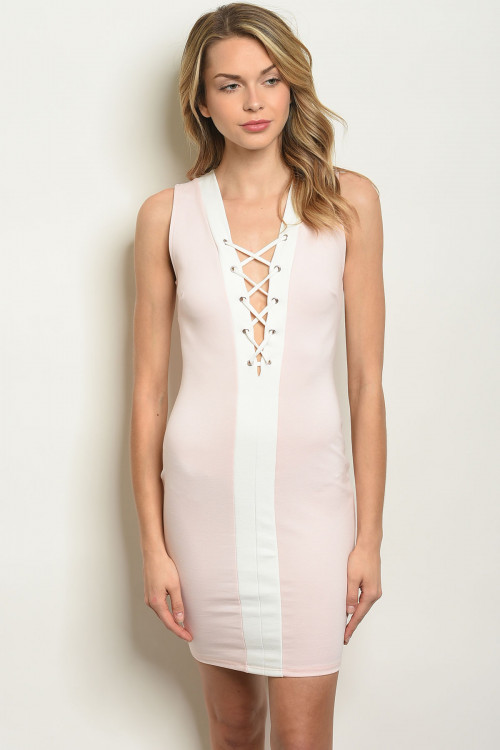 C12-A-1-D1750 LIGHT PINK WHITE LACE UP DRESS 2-2-2