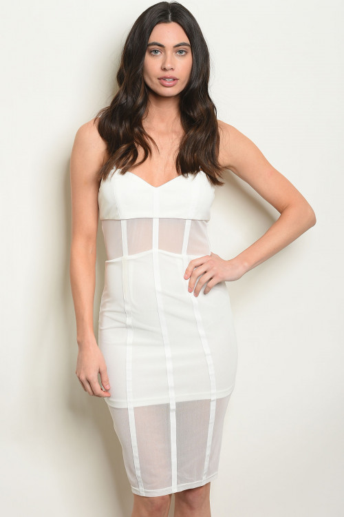 124-1-2-D3983 OFF WHITE MESH DRESS 4-2-1