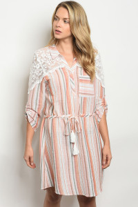 105-1-4-D50024 ORANGE SAGE STRIPES DRESS 2-2-2