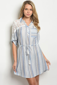 105-1-4-D50024 BLUE GRAY STRIPES DRESS 2-2-2
