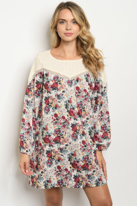 S13-12-5-D70302 CREAM TAUPE FLORAL DRESS 2-2-2