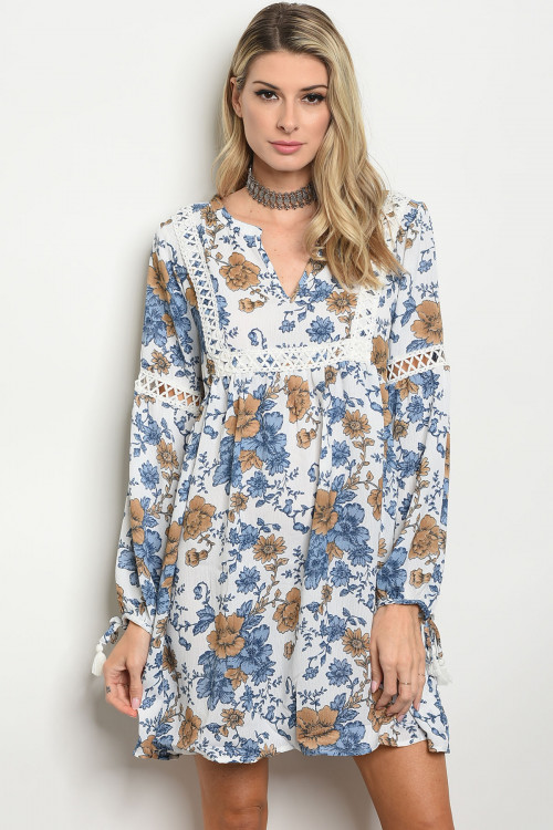 S14-6-2-D50014 OFF WHITE FLORAL DRESS 2-2-2