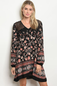 S18-3-1-D70205 BLACK BURGUNDY FLORAL DRESS 3-2