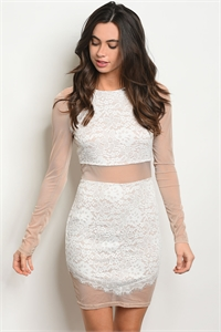 S11-6-1-D7879 WHITE TAUPE LACE DRESS 3-2-1