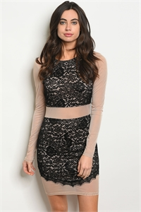 S13-10-2-D7879 BLACK TAUPE LACE DRESS 3-2-1