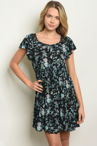C5-A-1-D40054 BLACK WITH BLUE FLOWERS DRESS 3-3-1