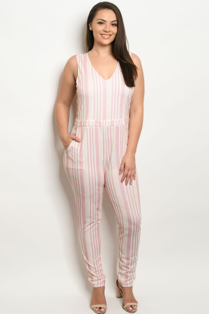 S15-11-3-R181961X PINK IVORY PLUS SIZE ROMPER 2-2-2