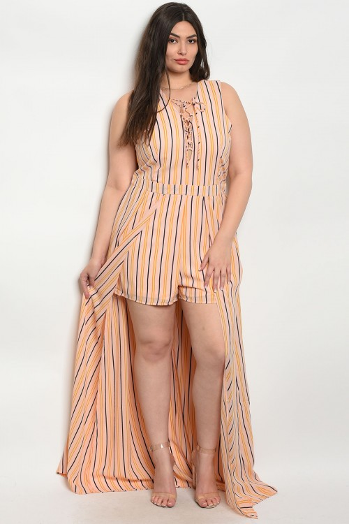 111-6-3-R182281X PEACH BLACK PLUS SIZE ROMPER 2-1-1