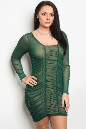 C99-A-5-D6186X HUNTER GREEN PLUS SIZE DRESS 2-2-2