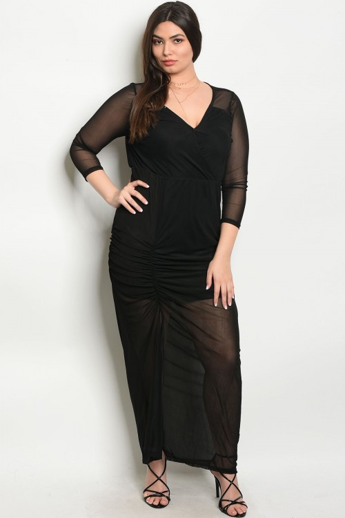 S10-3-1-D3292X BLACK PLUS SIZE DRESS 2-2-2