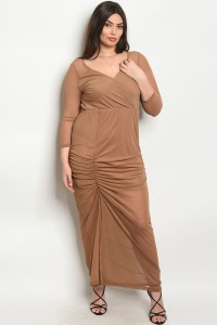 S9-4-5-D3292X MOCHA PLUS SIZE DRESS 2-2-2