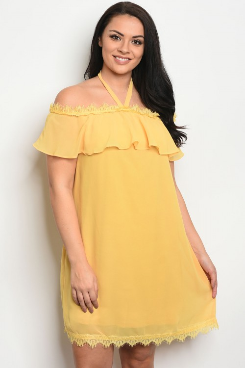 112-1-1-D4000X YELLOW PLUS SIZE DRESS 2-2-2