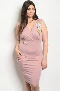 C1-A-5-D12363X MAUVE PLUS SIZE DRESS 2-2-2