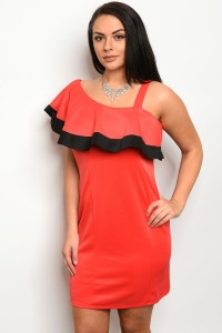 C10-A-2-D12214X RED BLACK PLUS SIZE DRESS 2-2-2