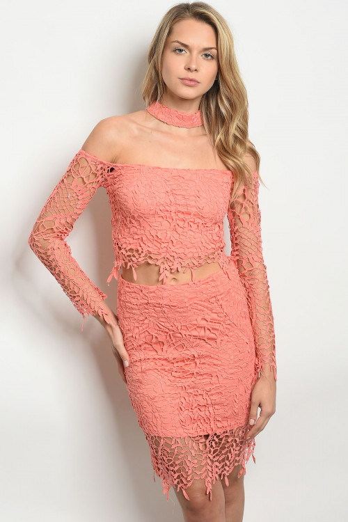 S14-4-4-SET3205 CORAL TOP & SKIRT SET 3-2-1