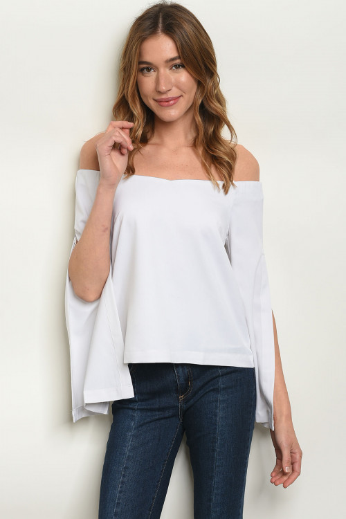 110-1-4-T9168 WHITE OFF SHOULDER TOP 3-2-1