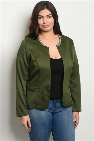 S8-14-3-J58283X HUNTER GREEN PLUS SIZE JACKET 2-2-2