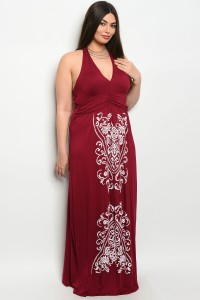 C61-A-1-D2485X BURGUNDY PLUS SIZE DRESS 3-3