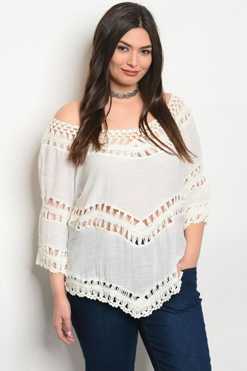 103-5-1-T6985X OFF WHITE PLUS SIZE TOP 2-2-2