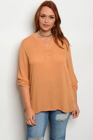 S9-13-5-T8162X MUSTARD PLUS SIZE TOP 2-2-2