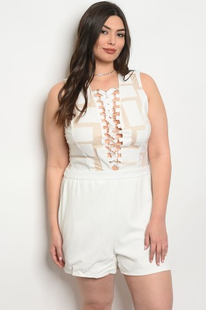 S16-6-4-RPL100235RPP2 IVORY NUDE PLUS SIZE ROMPER 2-2-2