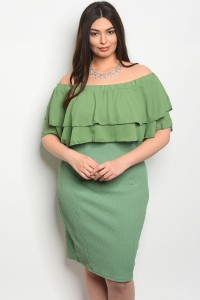 C56-A-2-D12349X GREEN PLUS SIZE DRESS 2-2-2