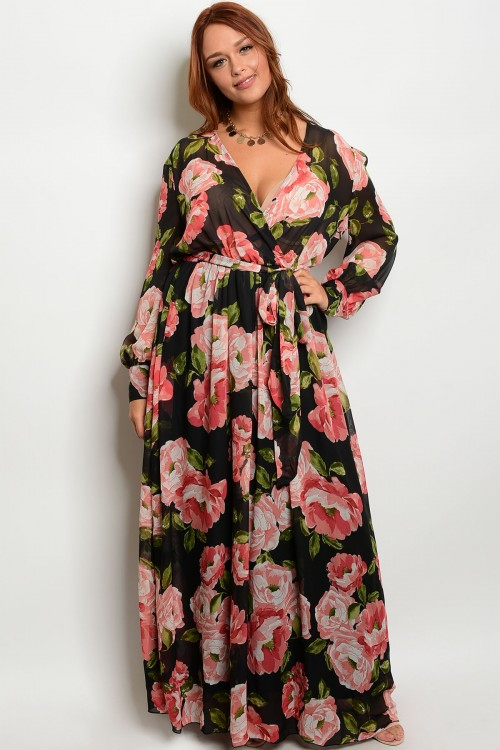 S19-10-3-D18220P27X BLACK FLORAL PLUS SIZE DRESS 2-2-2