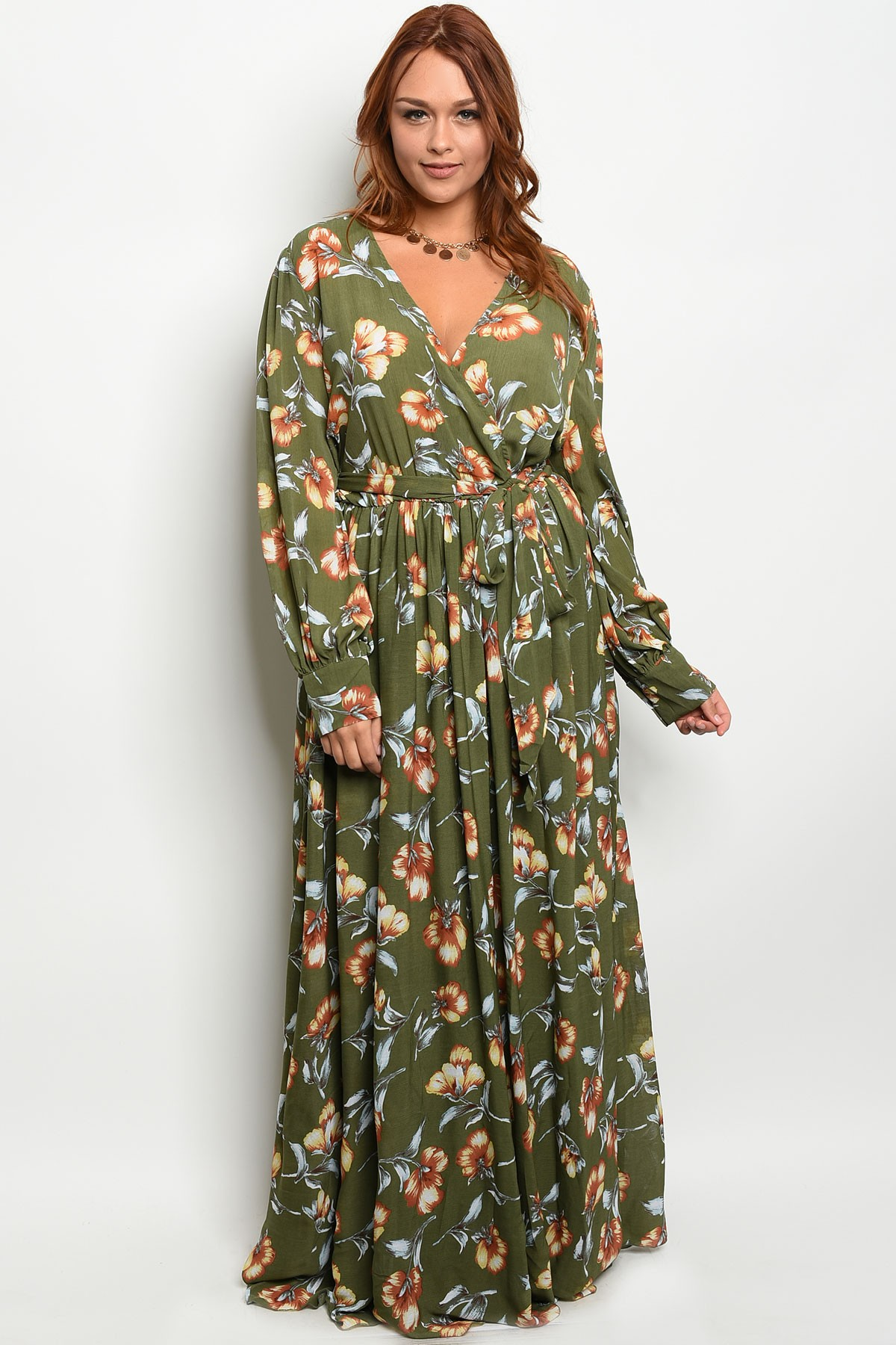 61a6ab94eb5 Floral Chiffon Maxi Dress Plus Size