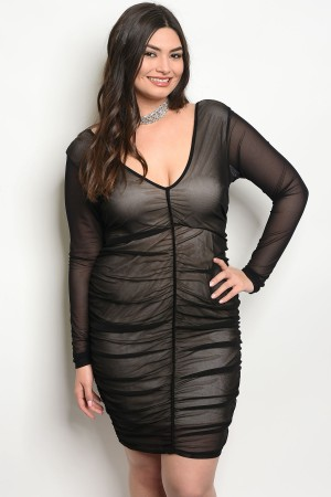 C70-A-4-D6824X BLACK NUDE PLUS SIZE DRESS 2-2-2