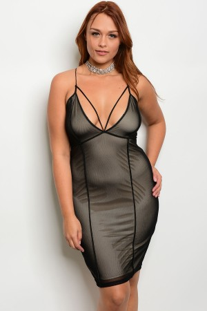 C64-A-2-D6919X BLACK NUDE PLUS SIZE DRESS 2-2-2
