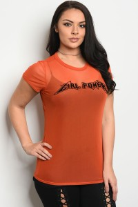 C90-B-3-T19764X ORANGE PLUS SIZE TOP 2-2-2