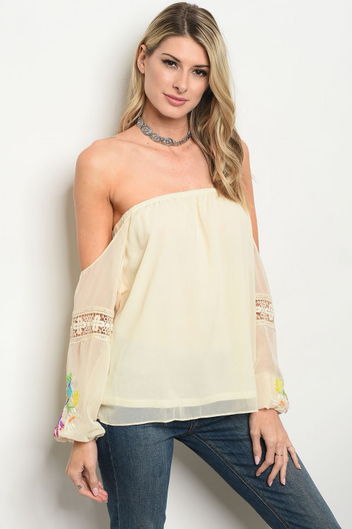 S16-5-2-T8672 CREAM BIRD PRINT TOP 3-3