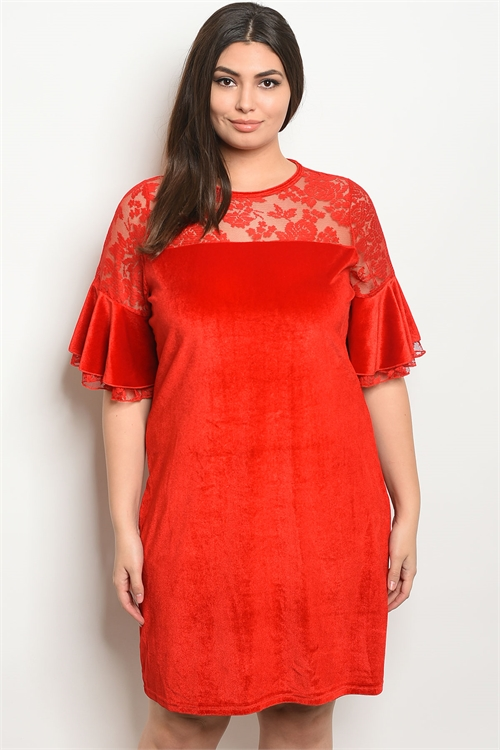 S22-3-2-D5083X RED VELVET PLUS SIZE DRESS 2-2-2