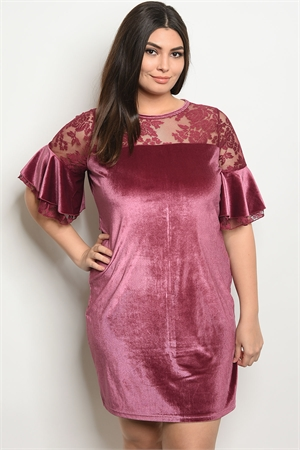 S23-2-3-D5083X MAUVE VELVET PLUS SIZE DRESS 2-2-2