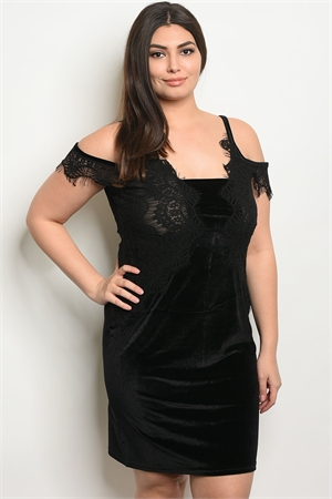 S6-1-1-D5085X BLACK VELVET PLUS SIZE DRESS 2-2-2