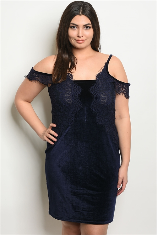 113-4-1-D5085X NAVY VELVET PLUS SIZE DRESS 2-2-2