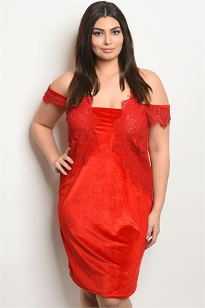 S6-1-1-D5085X RED VELVET PLUS SIZE DRESS 2-2-2