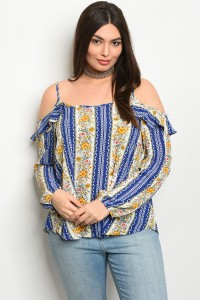 241-1-5-T8804X BLUE IVORY FLORAL PLUS SIZE TOP 2-2-2